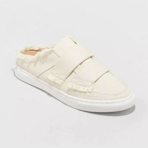 Raw Edge Backless Canvas Slip On Mules Sneakers